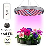 [2018 UPGRADED] Plant Grow Light 6 Bands Full Spectrum UFO 250 LED 50W Hanging Fixture Kit With 2/4/12H Timer Red/Blue/IR/UV/White Panel Hydroponic Bulbs For Greenhouse and Indoor Gardens