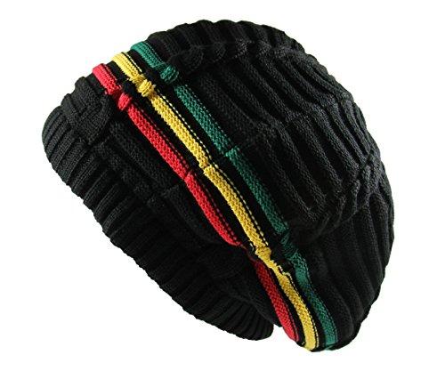 RW 100% Cotton Classic Rasta Slouchy Ribbed Beanie Hats (Black/Rasta) (Lightweight Ribbed Beanie)