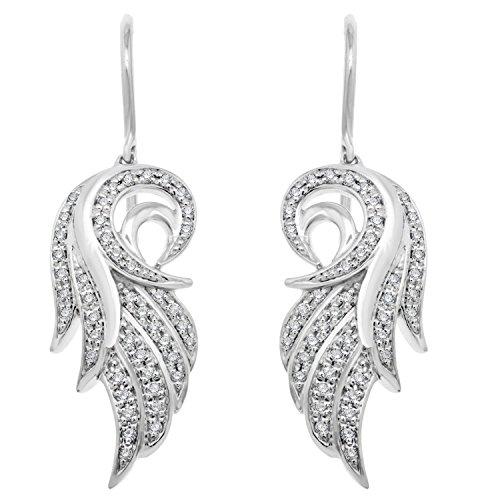 18K or blanc diamant blanc plume ange aile-Boucles d'Oreilles Pendantes Femme-(0,21carat)