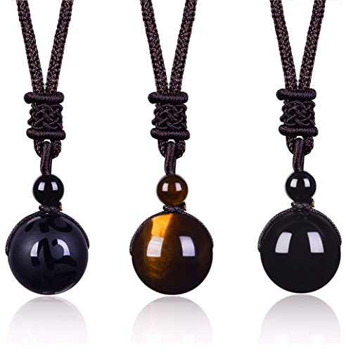 LYLYMIMI Tiger Eye Onyx Protection Necklace for Men Crystals and Healing Stones Buddhist (Jewelry Protection)