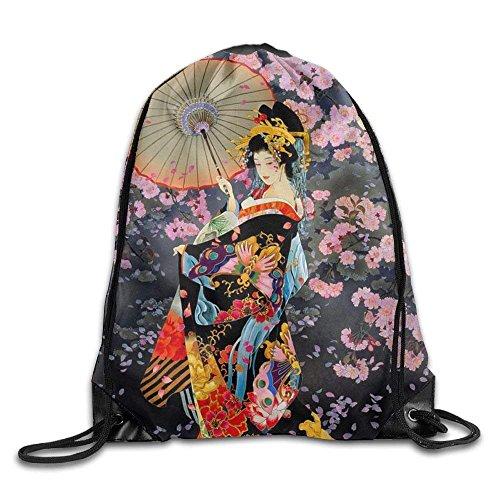 Sale Shower Curtain Japanese Geisha Printed Kawaii Drawstring Backpack Teen Girl Heavy Duty Sack Tote Yoga 16.9