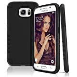 Galaxy S6 Case, Dual Layer Shockproof Case Cover for Samsung Galaxy S6 — Hard Plastic Shell & Soft Rubberized Silicone — Impact Resistant Smartphone Cover Armor Protection [Black - Black]