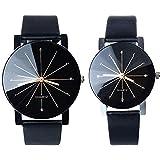 BLACK MAMUT Reloj Retro Vintage Elegante Minimalista Correa de Vinipiel Negro Zirconias Movimiento Análogo
