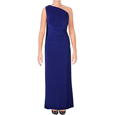 718991cdffdb Lauren by Ralph Lauren Womens Ruched One Shoulder Evening Dress - Blue -:  Amazon.co.uk: Clothing