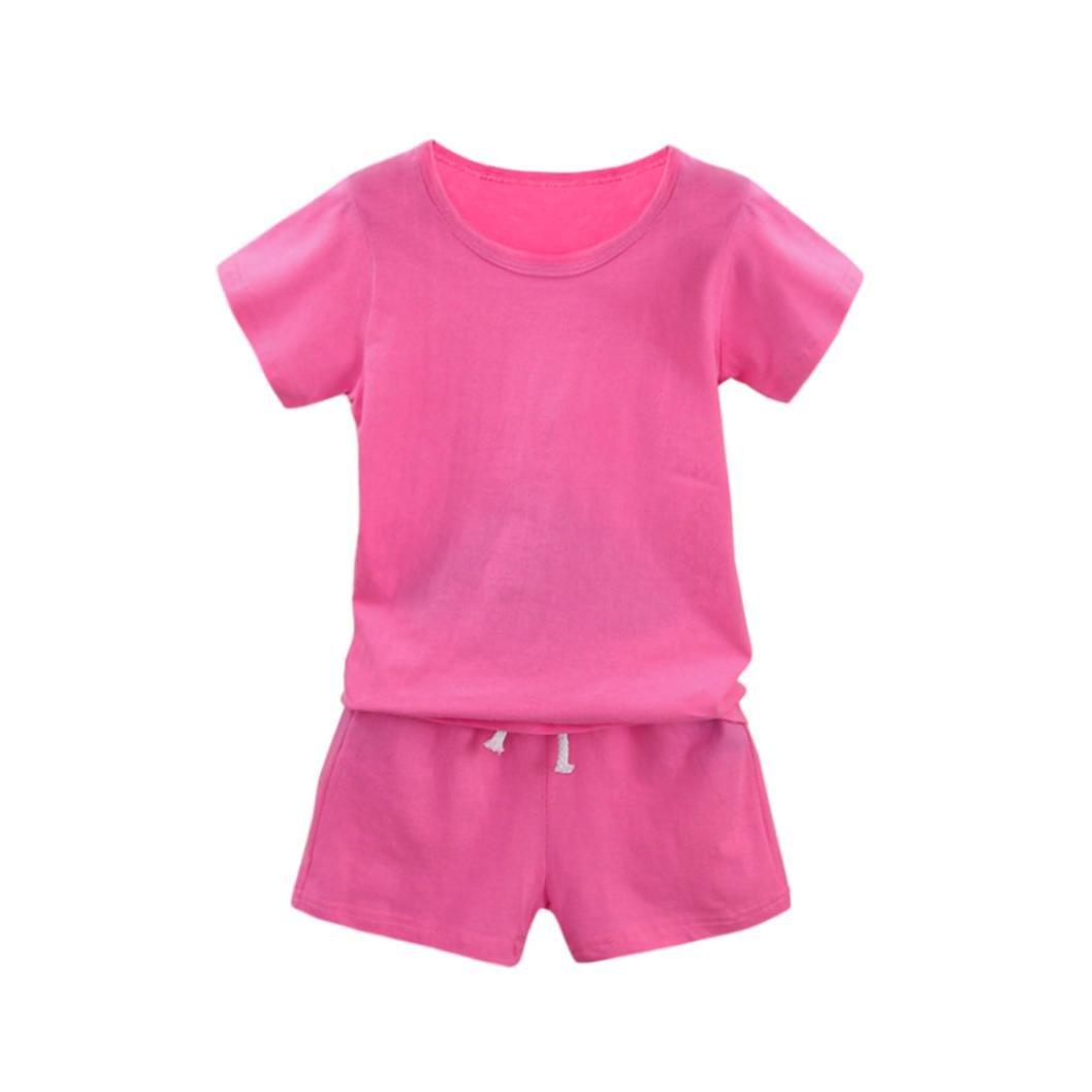 Winsummer Little Boys Girls 2pcs Summer Outfits Cotton Short Sleeve Solid T-Shirt Tops+Shorts Pants Classic Sets (Pink, 3T) by Winsummer (Image #1)