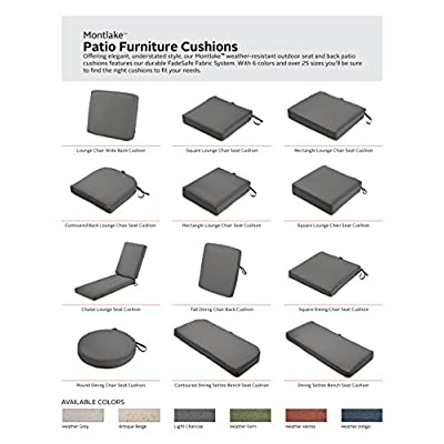Classic Accessories Montlake Water-Resistant 17 x 17 x 3 Inch Patio Seat Cush...