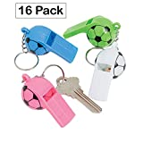 Plastic Soccer Ball Whistle Keychains 2.5 Inches - Pack Of 16 - Assorted Colors Sports Ball Designed Keychain - For Kids Great Party Favors, Bag Stuffers, Fun, Toy, Gift, Prize - By Kidsco