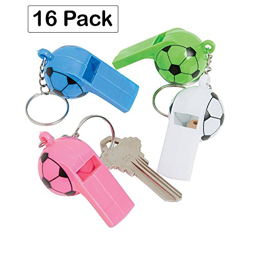 Plastic Soccer Ball Whistle Keychains 2.5 Inches - Pack Of 16 - Assorted Colors Sports Ball Designed Keychain - For Kids Great Party Favors, Bag Stuffers, Fun, Toy, Gift, Prize - By Kidsco (Theme Ideas For Balls)