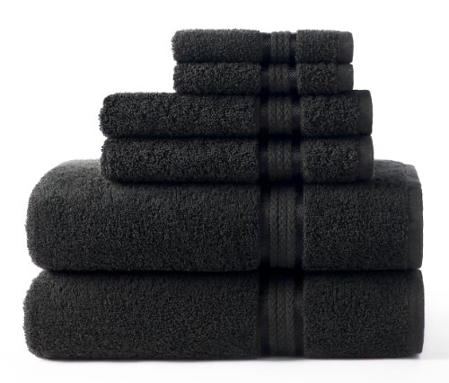 Black Holiday Craft - Cotton Craft Ultra Soft 6 Piece Towel Set Black, Luxurious 100% Ringspun Cotton, Heavy Weight & Absorbent, Rayon Trim - 2 Oversized Large Bath Towels 30x54, 2 Hand Towels 16x28, 2 Wash Cloths 12x12