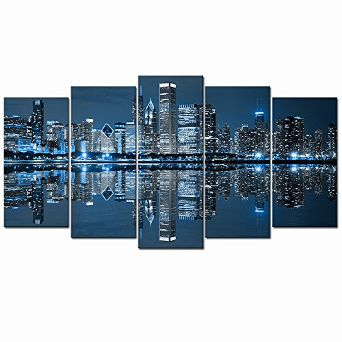 Live Art Decor- Chicago Downtown at Night Picture Canvas Print - Modern City Wall Art - Large 5 Panels Framed Artwork for Office Living Room Wall Decoration by Live Art Decor