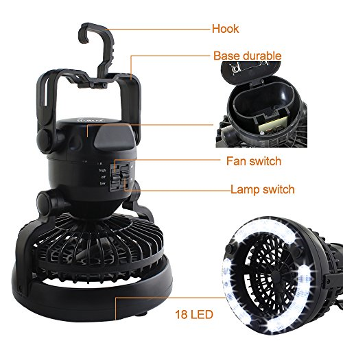 Portable Outdoor Overhead Fans : Haitral in portable led camping lantern with ceiling fan