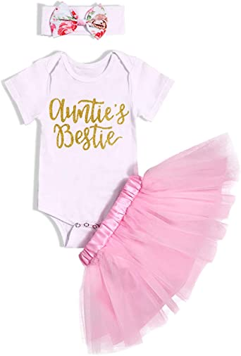 Headband Outfits Sets 0-18 M 3pcs Newborn Infant Girls Clothes Letter Print Short Sleeve Romper Bow Tutu Skirt