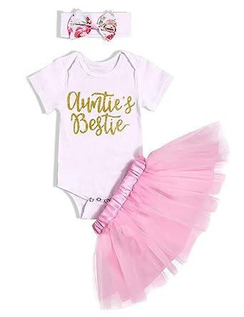 dd57dcea40 3Pcs Newborn Baby Girl Clothes Auntie's Bestie Short Sleeve Romper Tutu  Skirt with Headband Outfits Set