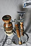 American Walnut Mach3/Fusion Shaving Set with Super Silvertip Badger Hair Brush and Copper Steampunk Inlay