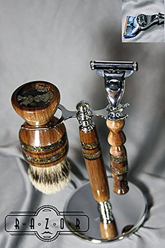 American Walnut Mach3/Fusion Shaving Set with Super Silvertip Badger Hair Brush and Copper Steampunk Inlay by Wood Razor