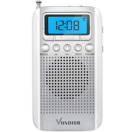 One Day Sale!- Digital AM/FM Portable Pocket Radio with Alarm Clock- Best Reception and Longest Lasting. AM FM Compact Radio Player Operated by 2 AAA Battery, Stereo Headphone Socket, by Vondior