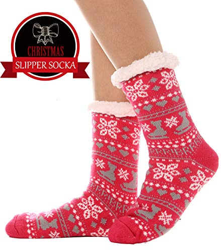 (Womens Fuzzy Slipper Socks Warm Thick Heavy Fleece lined Fluffy Christmas Stockings Winter Socks (Rose Red))