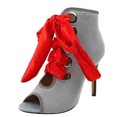 Lace Toe Summer Denim Spring up Latasa Light Boots Womens Blue Peep qtqZ7