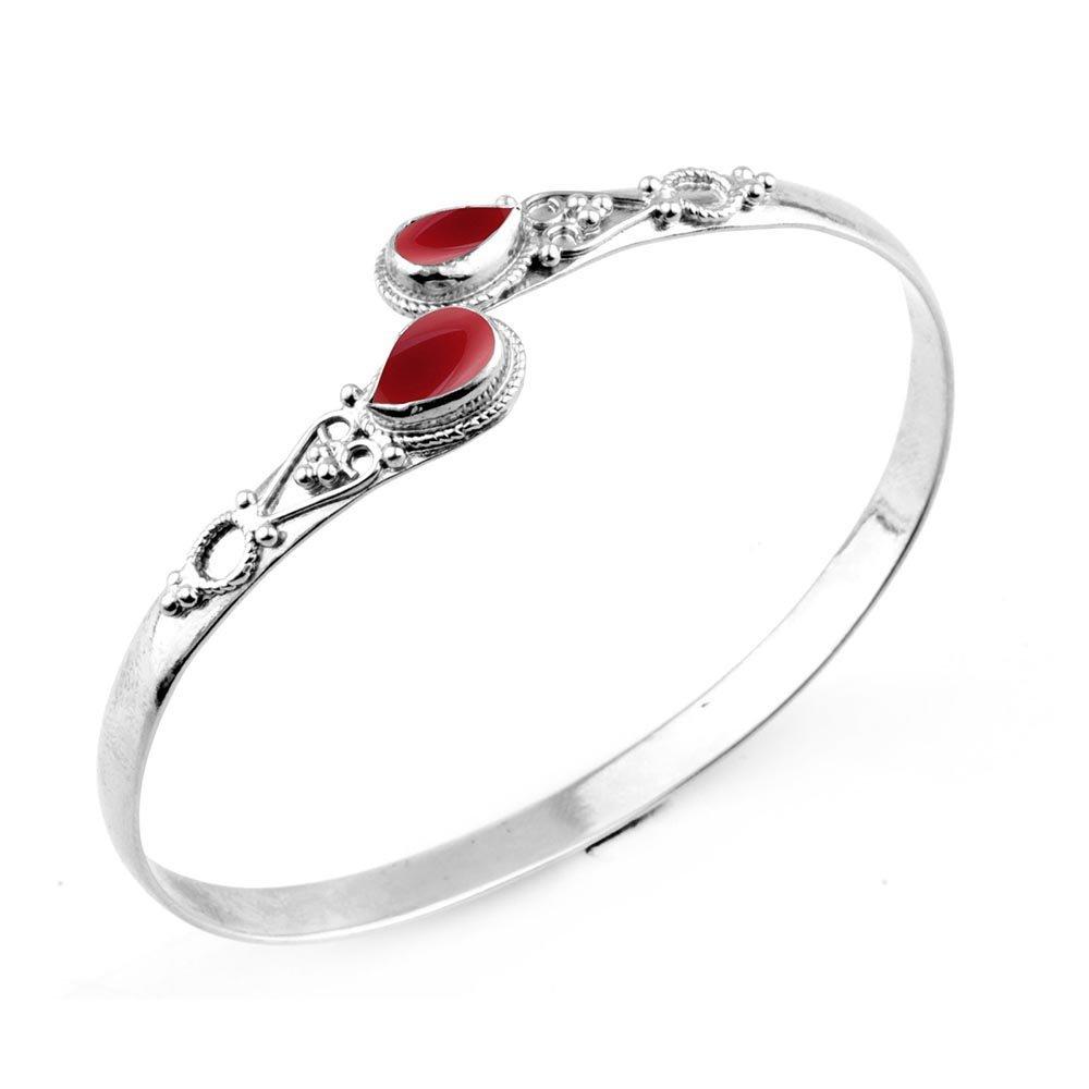 11.70gms, 3.20ct Genuine Carnelian .925 Silver Overlay Handmade Fashion Cuff Bangle Jewelry
