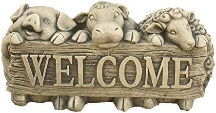 CATART Figura Decorativa Welcome Animales en Piedra para el jardín Exterior 36X20cm.: Amazon.es: Jardín