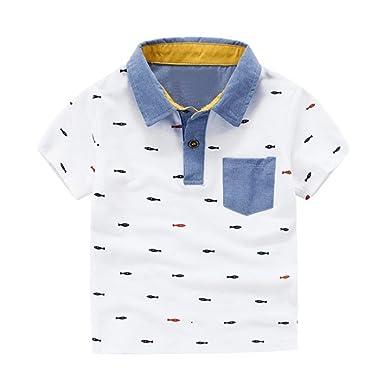 55aaf539b9 BOBORA Boys Summer Short Sleeve Printed T-Shirt Kids Polo Shirt 2-6Years Old