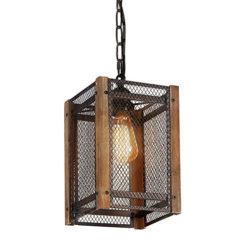 1 Fixture Pendant - Anmytek Metal Nets Shade Pendant with Wooden Frame 1 Light Metal Cage Chandelier Anitque Rustic Loft Style Home Decorative Lighting Fixture Black Painted Finishing Hanging Lamp