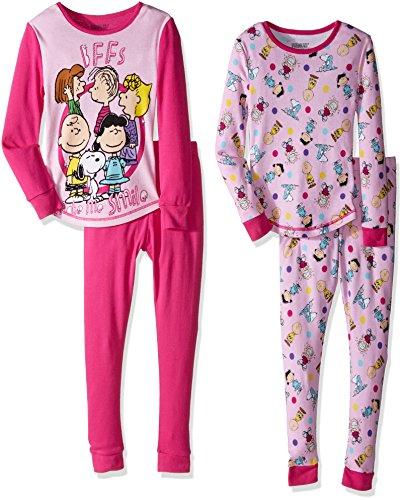 Peanuts Big Girls' 4pc Cotton Sleepwear Set, Pink, (Snug Fitting)