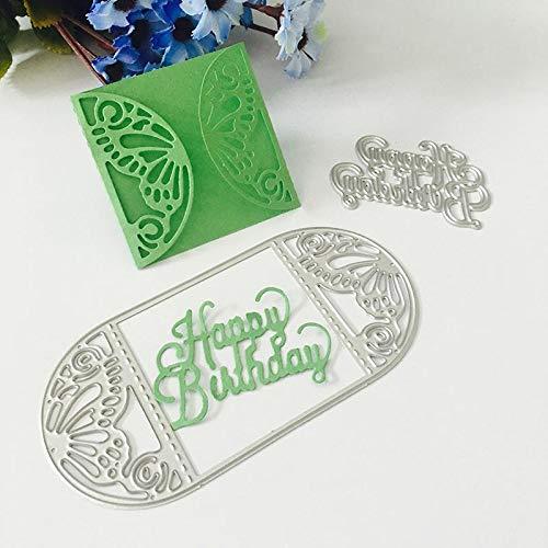 Teabelle Die Pochoirs Cutting Dies Scrapbooking Matrice de D/écoupe D/écoration Motif de Papillon Happy Birthday Joyeux Anniversaire