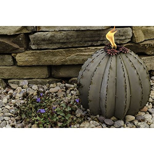 Desert Galvanized Steel Small Golden Barrel Cactus with Torch Canister by Generic