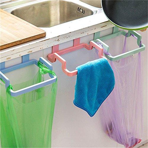 VADOLY Plastic Removable Garbage Bag Holder Kitchen Rubbish Trash Hanging Storage Rack Organizer Cabinets Clothes Bathroom Towel Racks