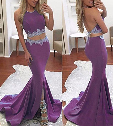 Mermaid Women's Prom Women Two DYS Formal Gowns Evening For Lilac Dress Slit Pieces dYwaCqCx