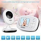 "incoSKY Wireless Video Baby Monitor HD IR Camera Two-Way Talk IR Night Vision 2.4GHz WiFi Long Transmission Range Corner Shelf Included Star Light 2.4"" TFT LCD Display TU5 White"