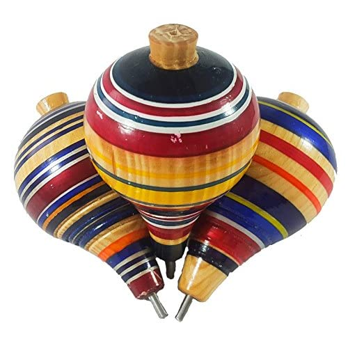 Mexican Trompos 3 Pack Wooden Spin Tops Metal Tips Made in Mexico Premium Quality 3 Pack, Assorted Colors