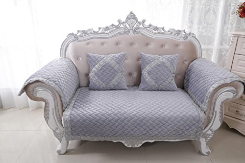 HUANZI 2 Seater Sofa Cover Loveseat Slipcover Non-Slip Classical Couch Cover Settee Protector Gray , 110180cm (Covers Settee Loose)