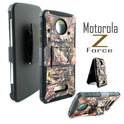 Moto Z Force Case, Customerfirst, Rugged Impact Armor Hybrid Kickstand Cover with Belt Clip Holster Case for Lenovo Moto Z Force 5.5-inch Free Emoji keychain (Reg Camo)