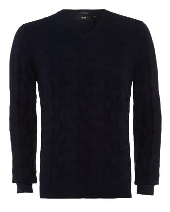 253b0d4b5a5 BOSS Hugo Black Mens Faddis Cashmere Jumper M Dark Blue: Amazon.co ...