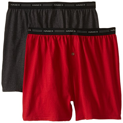 Hanes Men's 2-Pack Exposed Waistband Knit Boxers, Assorted, Large