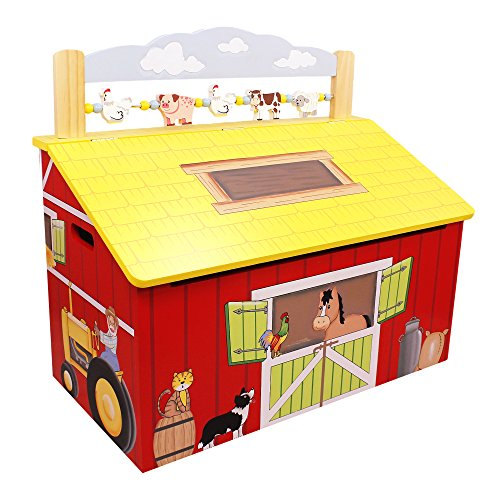 Fantasy Fields - Happy Farm Animals Thematic Kids Wooden Toy Chest with Safety Hinges | Imagination Inspiring Hand Crafted & Hand Painted Details | Non-Toxic, Lead Free Water-based Paint
