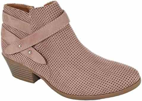 0dd114d6dba61 SODA Women Small Short Heel Ankle Boots Buckled Booties Side Zipper Portia