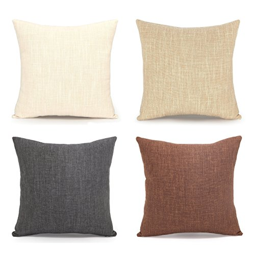 Merveilleux Acanva Decorative Accent Throw Pillow Cushion, With Pillowcase Cover Sham U0026  Insert Filling, Large Size, Solid Color, Set Of 4, Charcoal Black, Ivory  White, ...