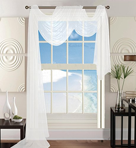 "Elegant Comfort Luxury 60 x 216"" Solid Curtain Sheer Voile Scarf, White"