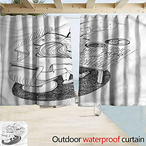 MaryMunger Balcony Curtains Book Girl and Cat Read on Desk Blackout Draperies for Bedroom W55x72L Inches