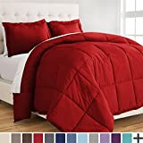 Ultra-Soft Premium 1800 Series Goose Down Alternative Comforter Set - Hypoallergenic - All Season - Plush Fiberfill, Twin Extra Long (Twin XL, Red)
