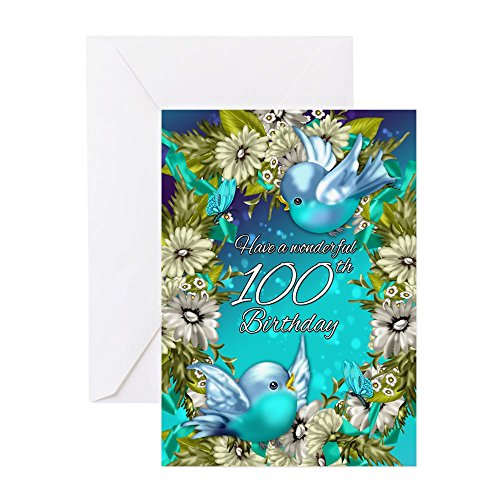 CafePress - 100Th Birthday Greeting Card With Bluebirds - Greeting Card, Note Card, Birthday Card, Blank Inside Glossy