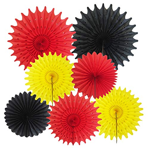 Mickey Mouse Party Supplies Mickey Birthday Decorations 7pcs Yellow Red Black Tissue Paper Fans for Mickey Mouse 1st Birthday Decorations/Mickey Mouse Party Decorations -
