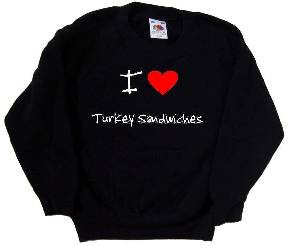 I Love Heart Turkey Sandwiches Black Kids Sweatshirt