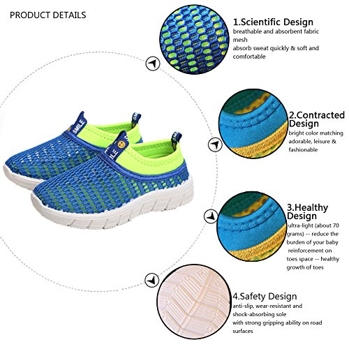 CIOR Kids Breathable Water Shoes Slip-on Sneakers For Running, Pool, Beach, Toddler/Little Kid/Big Kid,sk205yellow,26 4