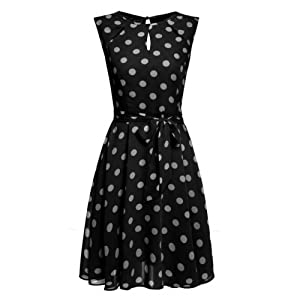 LI'L BLACK DRESS Women Polka Dots Chiffon Cocktail Party Dress (medium, black)