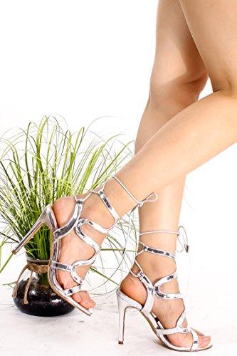 Scarpa Magnate Ritaglio Design Open Back Cinturino Alla Caviglia Tracolla Tacco Alto Scarpe Silverpu