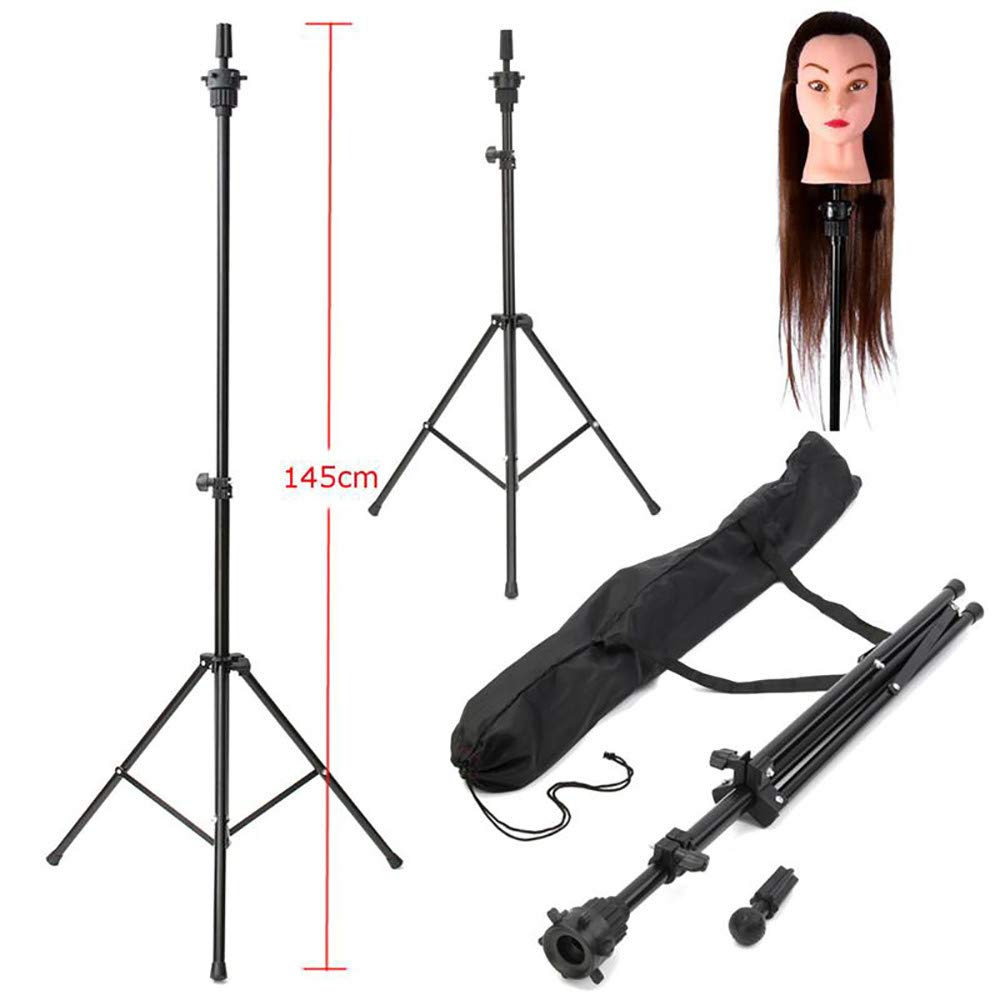 Adjustable Wig Head Tripod Stand Mannequin Tripod Hairdressing Training Holder Durable